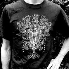 New Cosmic Trilobite T-Shirts- Celestial Steampunk Fossil Design Mens or Unisex Black - Live Love Evolve
