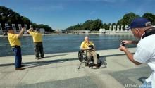 "(CNSNews.com) - Government shutdown or not, there's no reason to keep elderly veterans away from the WWII Memorial, says Rep. Gohmer (R-TX), who was there on Tuesday when a group of 85- to 98-year-olds encountered barricaded grounds. ""It is a granite sidewalk - it's a sidewalk! They [the Nat'l Park Service] spent extra money to go find barriers to put up in front of these WW II vets. And I'm wondering what are they going to do next - hang a drapery over Mt. Rushmore? I mean, this is…"