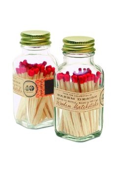 """Each square, apothecary match bottles stores 40, 2"""" matches, each with colorful red tips. The strike-on-bottle design is truly unique and is great for camping, kitchen and bathroom. Also make a great wedding favors, groomsmen gift and hostess gift. Set of 40. Sold as one bottle.    Measures: 3.5"""" H x 1.5"""" W; matches are 2""""   Mini Match Bottle by ReCreateU. Home & Gifts - Gifts & Things New York City"""