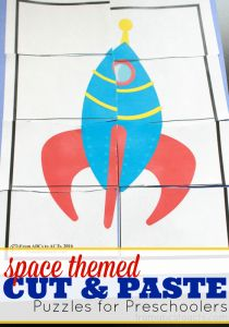 Work on fine motor and scissor skills while creating a few fun space themed puzzles!