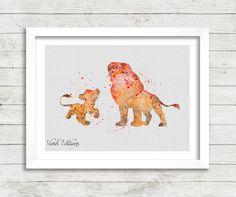 Simba and Mufasa Disney Watercolor Art Poster, The Lion King Watercolor Print by VIVIDEDITIONS