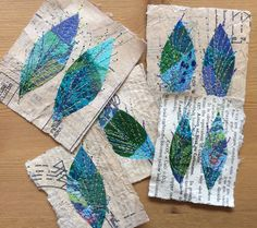 Fabric Crafts Oh gosh. This could be a really fun idea for packaging. Thinking like some kind … Free Motion Embroidery, Paper Embroidery, Free Machine Embroidery, Fabric Cards, Fabric Postcards, Sewing Crafts, Sewing Projects, Thread Painting, Leaf Art