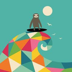 """Surfs Up """" Every summer have a story. Just make yours to be awesome please : ) """" #sloth #love #surf #art #drawing #painting #skecth #watercolor #summer #illustration #doodle #vector #graphic #design #cute #like #geometric #creative #fantasy #animals #family #home #boy #girl #life #cool #cute #landscape #beautiful #picture"""