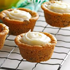 Cream Cheese Cookie Cups is part of Quick dessert Cream Cheese - Need a quick dessert Try these yummy cookie bites For a pretty look, use an icing bag to pipe the filling into the cups, then top each with mini M&M's —Rachel Blackston, Mauk, Georgia Muffin Tin Recipes, Easy Cookie Recipes, Dessert Recipes, Quick Dessert, Muffin Tins, Yummy Recipes, Egg Recipes, Mini Desserts, Cookie Desserts