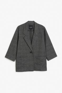 Monki Image 1 of Long blazer in Grey
