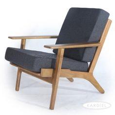 Hans J Wegner Style Plank Armchair, Charcoal Cashmere/Dark Wood |