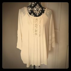 """Pretty Cream Colored Alfani Blouse Alfani. Size 14. 100% polyester. Rhinestone and silver bead detail in front with feminine pleats. Bell sleeves. 22.5"""" across bust (laid flat). 29"""" long. Excellent condition - worn once. Does not come with tank and jewelry. Alfani Tops Blouses"""