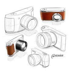 Mauricio Sanin on Behance Camera Sketches, Camera Drawing, Drawing Sketches, Drawings, Interior Design Sketches, Industrial Design Sketch, Sketch Design, Tool Design, My Design