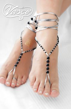 Items similar to Black Grey Barefoot Sandals on Etsy Beaded Foot Jewelry, Ankle Jewelry, Ankle Bracelets, Diy Barefoot Sandals, Bare Foot Sandals, Beautiful Toes, Jeweled Sandals, Crochet Shoes, Women's Feet