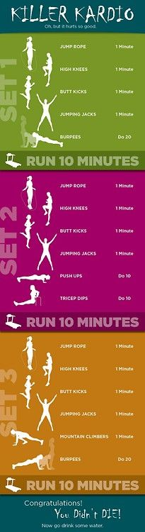 Good HIIT workout (high intensity interval training). One that I am going to do soon is run as fast as possible for one 1/4 mile, drop down and do 10 push-ups, repeat for 2 miles. Lots of different interval workouts out there so none of us get bored.