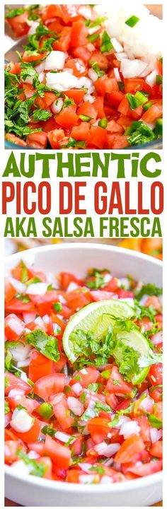 Pico de Gallo Recipe- Authentic Pico de Gallo Recipe – By far the best pico de gallo recipe we've made. A fresh Salsa Fresca recipe for tacos, fajitas, and even with chips with fresh pico. (aka salsa with fresh tomatoes) Authentic Pico de Gallo Recipe Mexican Dishes, Mexican Food Recipes, New Recipes, Cooking Recipes, Favorite Recipes, Healthy Recipes, Ethnic Recipes, Mexican Easy, Easy Recipes