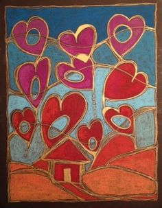 February 14, oil pastel on canvas board by Dottie D'Acquisto Graham