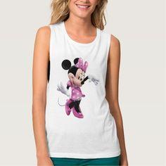 Minnie Mouse pink polka-dot dress waving dancing Tank Tops
