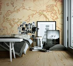 Engaging Travel Bedroom Ideas With Large Abstrack Map Wall Decal On The Small Rounded Desk: Inspirational Travel Themed Bedroom Ideas For Your Bedroom Decor