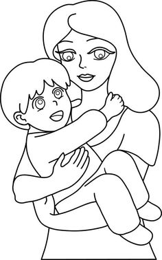 Mother and child coloring pages Mother And Child Pictures, Mom Pictures, Mother And Baby, Pictures To Draw, Colorful Pictures, Dad Drawing, Outline Pictures, Coloring Pages For Kids, Kids Colouring