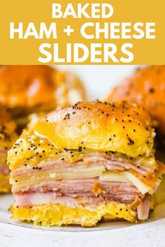Ham and Cheese Sliders These baked ham and cheese sliders and layered with ham, melted cheese, on a Hawaiian sweet roll, and basted with a flavorful, buttery sauce. www.modernhoney.com #sandwiches #sliders #hamandcheesesliders Sandwich Recipes, Lunch Recipes, Breakfast Recipes, Sandwich Ideas, Game Recipes, Recipies, Hawaiian Roll Sliders, Hawaiian Sweet Rolls, Ham Cheese Sliders