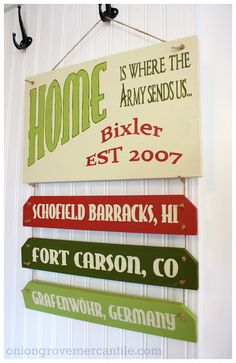 Totally loving this hand-painted sign from the fabulous Jen of Onion Grove Mercantile