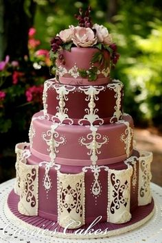 Wedding Cake in Ivory, Pink and Burgundy ~ By Carrie's Cakes