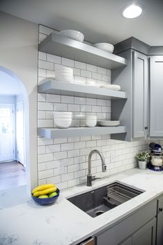 Brite White Subway Tile 3x6 Classic French Gray Shaker