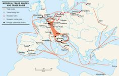 Medieval trade routes Middle Ages History, Student Teaching, Teaching Ideas, Medieval, Infographic, Europe, Science, Education, Life