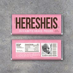 Personalized Birth Announcement Candy Bar Wrappers in PINK – Printable HERESHEIS Hershey Bar Wrappers – It's a Girl! Photo Announcement by Studio120Underground on Etsy https://www.etsy.com/listing/241720890/personalized-birth-announcement-candy