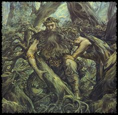 The Lesovik (Leshy) or is a male woodland spirit in Slavic mythology who protects wild animals and forests. He is roughly analogous to the Woodwose of Western Europe and the Basajaun of the Basque Country. World Mythology, Celtic Mythology, Mythological Creatures, Mythical Creatures, Mythological Monsters, Green Man, Gods And Goddesses, Archetypes, Deities
