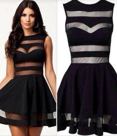 Black mesh stripe sleeveless skate dress