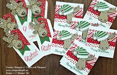 Christmas Tags using Stampin' Up! Jolly Friends & Cookie Cutter Christmas Bundles, Candy Cane Lane Washi Tape
