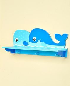 Whale Wall Storage Shelf With Pegs Kids Bathroom Ocean Sea Accent Home Decor New #UnbrandedGeneric