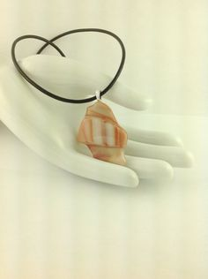 Fused Glass Tan and White Art Pendant on A  Leather Cord Necklace      Hand Crafted Jewelry