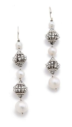 Miguel Ases Pyrite Linear Drop Earrings/freshwater pearls, metallic beads