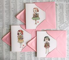 The Dolly Collector Set - 3 blank note cards in 3 designs - by Mab Graves
