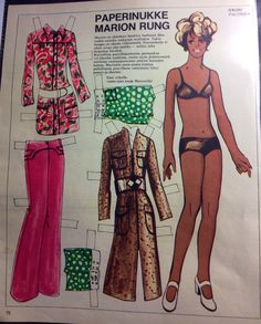 Paper doll Marion Rung singer, 70's