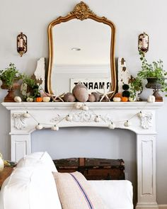Gorgeous mantel with vintage treasures and fall decor. D.D.'s Cottage and Design: Fall Blog Tour 2016