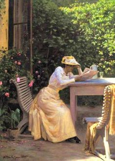 Jensen, Niels Frederik Schiottz (b,1855)- Woman Reading, w Tea, on Patio