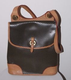 RARE Dooney & Bourke Black Cabrio Leather Flap Handbag Brass Hardware  | eBay