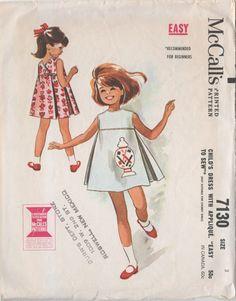 SALE Vintage 60s McCalls 7130 Girls MOD Highwaisted Backwrap Dress Size 3. , via Etsy.