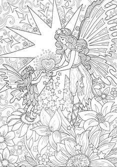 Butterfly Coloring Page, Fairy Coloring Pages, Unicorn Coloring Pages, Free Adult Coloring Pages, Free Printable Coloring Pages, Coloring Books, Line Artwork, Outline Drawings, Art Drawings