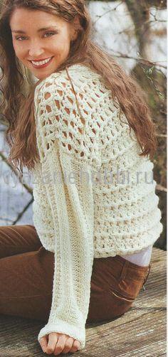 Вязаный свободный пуловер крючком и спицами