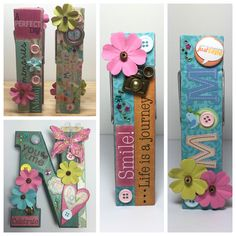 """Custom Order: Jumbo Clothespin Photo / Card Holders - Set of 3 double sided in Mother's Day theme  One with large """"N"""" for client's mother's name. Other 2 double sided embellished for alternate / two sided display ability."""