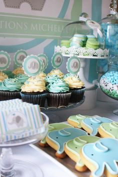 Baby boy shower - Elephant dessert table + decor, For my baby sister, I like the cookies :)