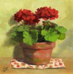 """Cottage Geraniums"" - Original Fine Art for Sale - © Linda Jacobus"