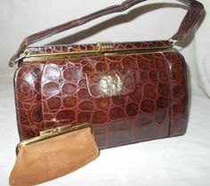 Super vintage French 1940's crocodile handbag with a dog front by VintageHandbagDreams on Etsy