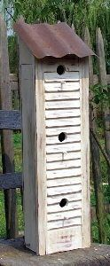 Turn old shutters into a Bird House for your garden :)