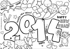 2014 colouring page vuurwerk New Year Coloring Pages, Coloring Sheets For Kids, Colouring Pages, Free Coloring, New Year's Crafts, Holiday Crafts, Fun Crafts, Crafts For Kids, New Years Activities