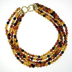 SOLD! Vintage Crystal Bead Necklace Designer RJ Graziano Black Amber Rootbeer Five Strand