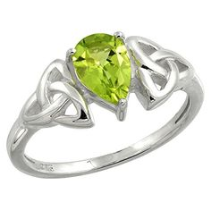 Sterling Silver Celtic Knot Trinity Ring with Natural Peridot 516 inch wide size 10 * To view further for this item, visit the image link.