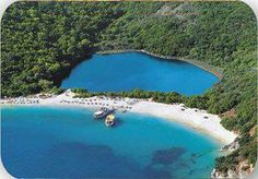 Blue lagoon in Corfu, Greece