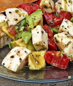 Mozzarella Avocado Tomato Salad ~ I will make a vinaigrette (champagne vinegar or balsamic) rather than just EVOO & basil.