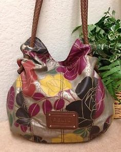 Relic Silver Floral Faux Leather Hobo Shoulder Handbag Bag Braided Straps  b763fcbc7f349